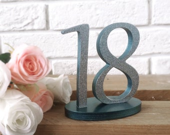 Glitter Wood Table Numbers, Wedding Table Number, Silver Glitter Wedding, Wedding Wood Signs, Stylish Table Numbers