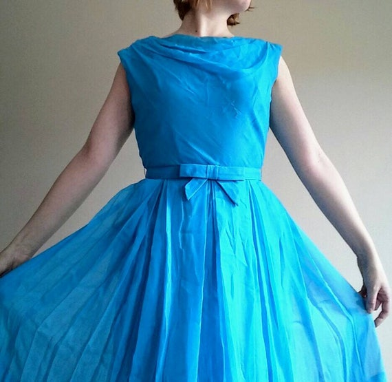 50s Bright Turquoise Chiffon Dress with Matching B