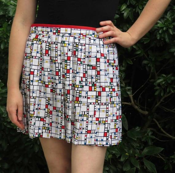 80s Retro Pleated Mondrian Modern Art Mini Skirt b