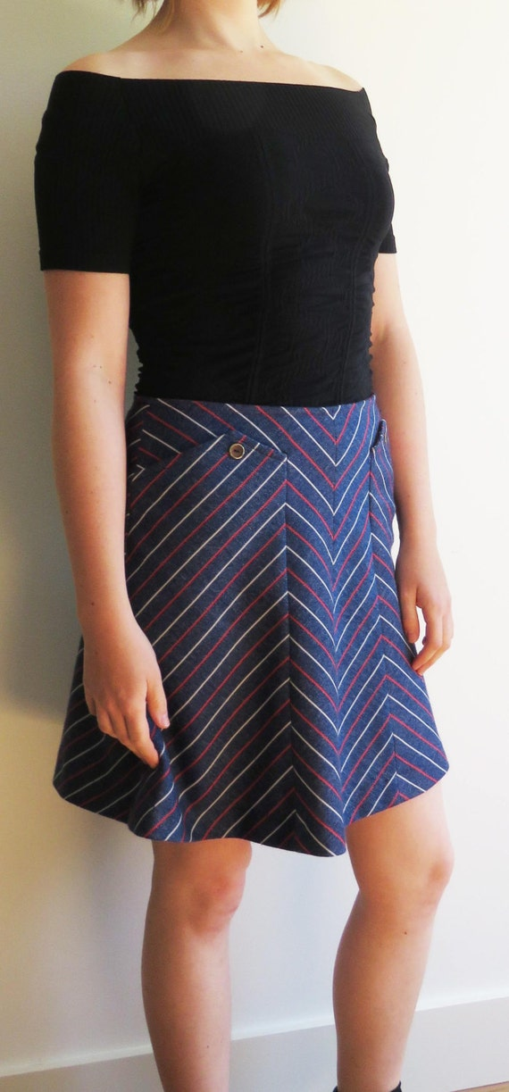 60s Vintage A-Line Blue Mini Skirt with White and