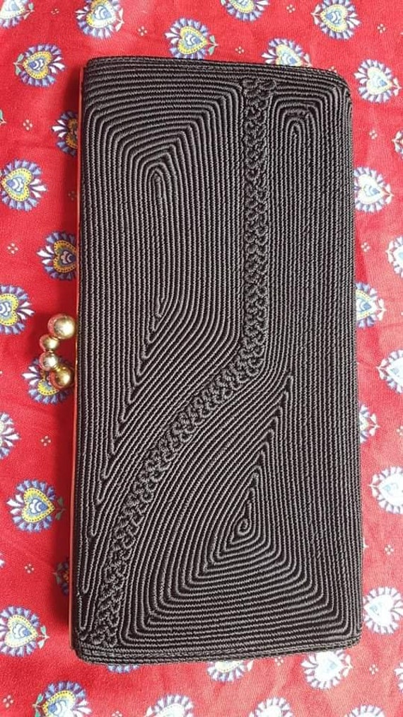 40s Black Corde Clutch Bag