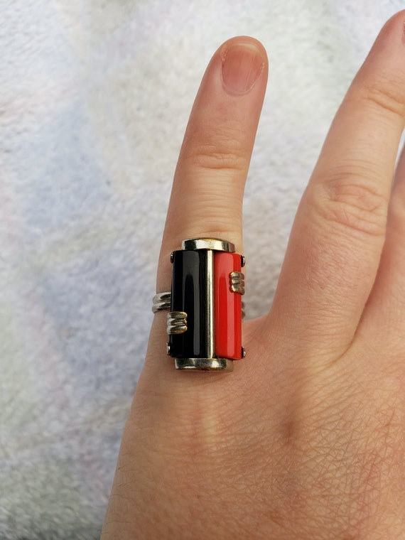 Antique 1920's Art Deco Celluloid Harlequin Ring,