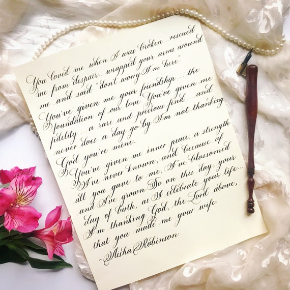 Handwritten Love Letter/ Custom Quote/ Calligraphy/ Old-school Love Letter/  Anniversary Gift/ Wedding Vows/ Wedding Calligraphy/ Traditional