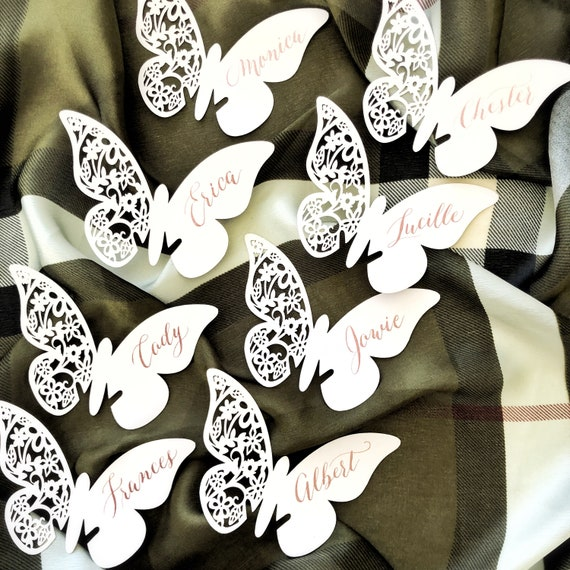 Butterfly Place Card Laser-cut Place Card Wine Glass Wedding Place Card Escort Card Baby Shower Bridal Shower Calligraphy place card