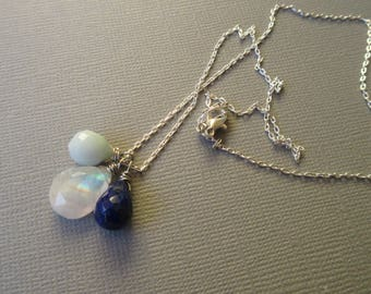 A glimpse of sky - delicate necklace with rainbow moonstone, lapis lazuli and aventurine faceted drops