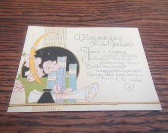 Antique Graduation Card, Circa 1930