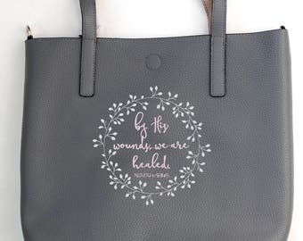Bible verse tote bag, Embroidered tote bag, Personalized tote bag, Scripture tote bag, Faux leather, Custom designed, Gift for her Christian