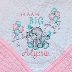 Baby Blanket Baby Shower Dream Big Handmade Baby Gift embroidered Elephant Burp Cloth Personalized Baby Blanket