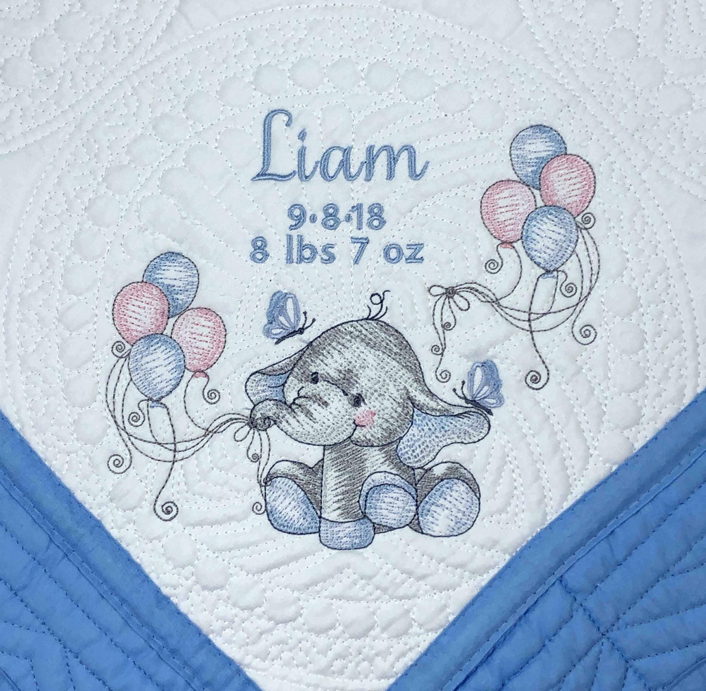 Bébé Couette Bleu éléphant Couverture Ensemble Cadeau Bébé Personnalisé Brodé