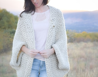 Knit Sweater Pattern, Knit Blanket Sweater, Knitting Pattern Shrug, Knitting Pattern Easy, Knitting Pattern White, Easy Cardigan