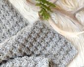 Simple Crocheted Blanket Pattern, Easy Crocheted Blanket, Grey Blanket, Wool Crochet Afghan, Baby Blanket, Throw Blanket, Beginner Pattern