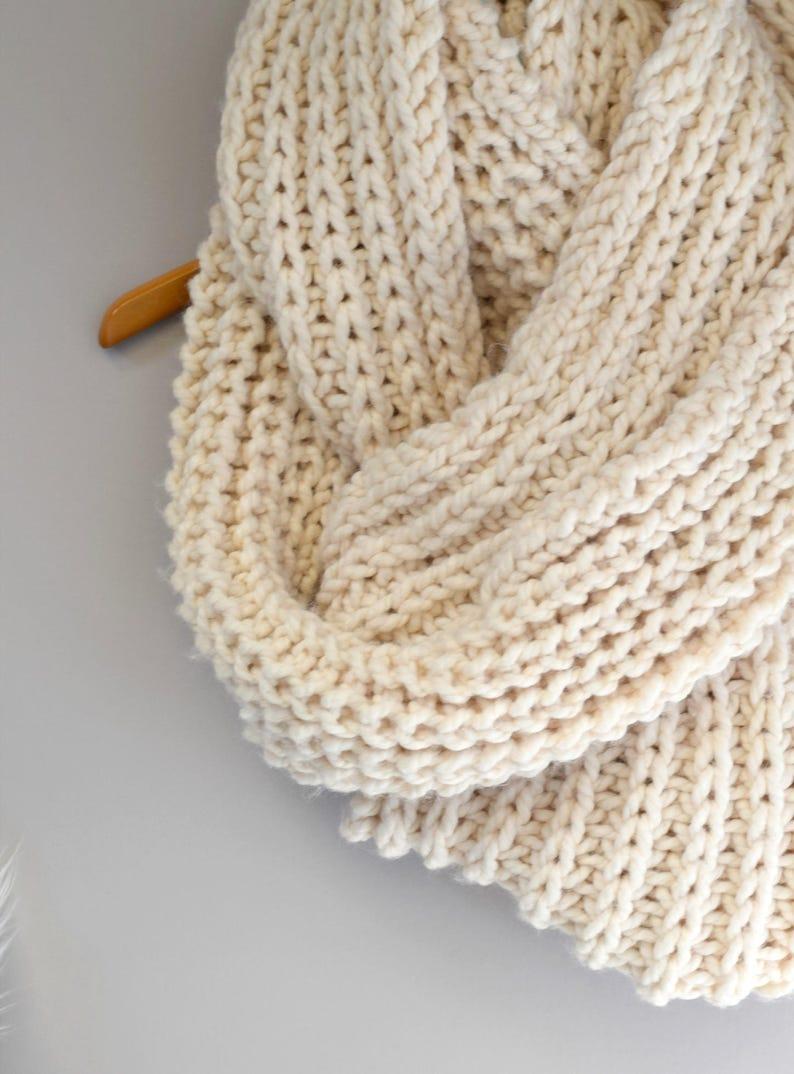 Big Knit Scarf Oversized Knit Scarf Pattern Easy Knit Scarf Etsy