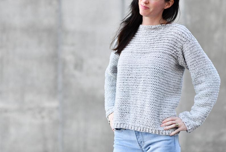b40432a57 Velvety Crocheted Pullover Pattern Easy Crocheted Sweater