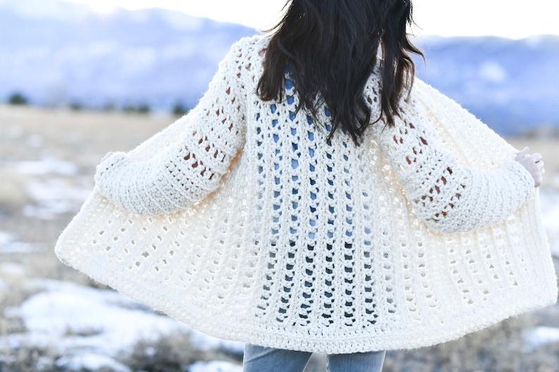 047790f5d8473c Light Snow Oversized Crochet Cardigan Pattern Sweater Crochet