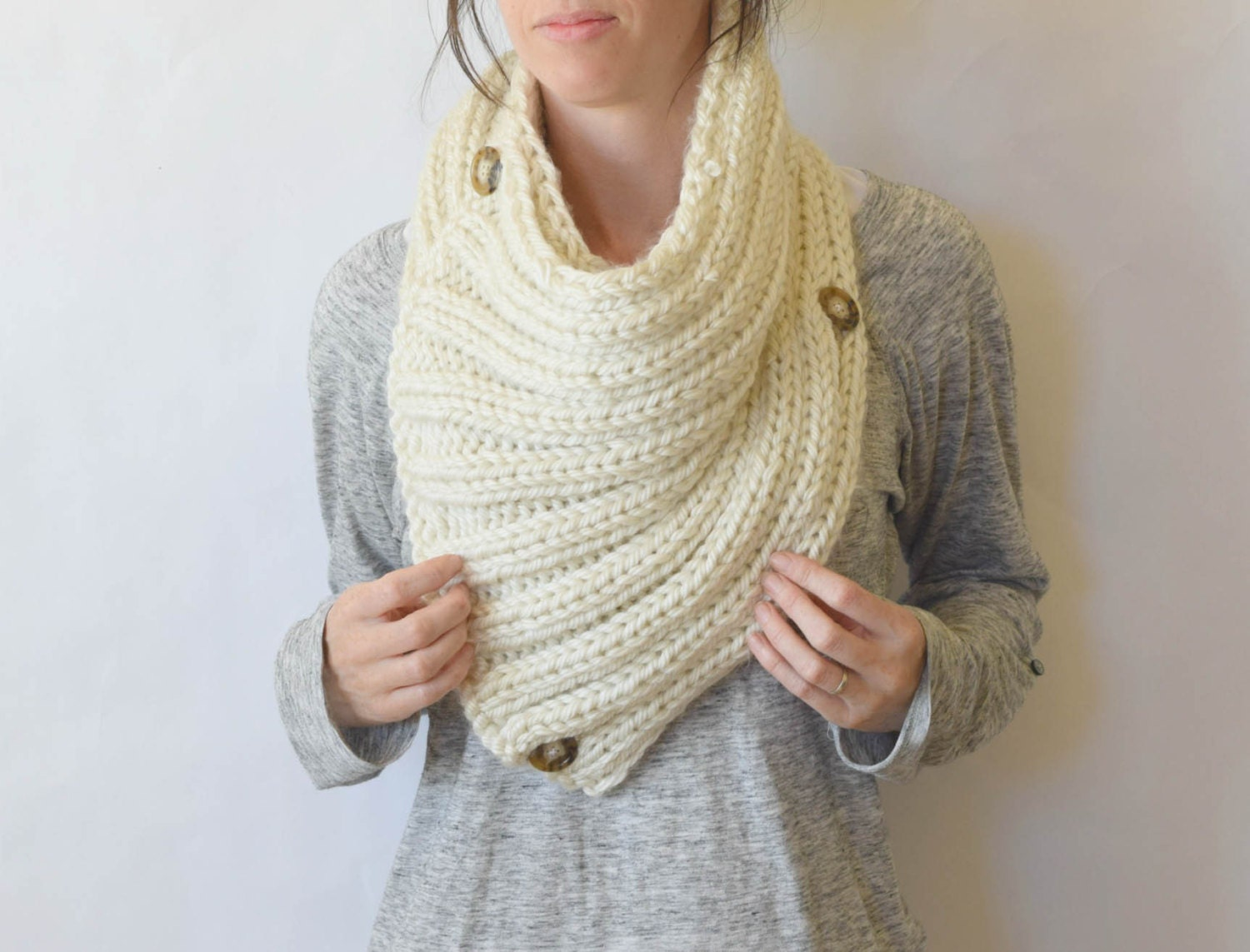 Giant Knit Cowl Big Knit Scarf Cream Knit Scar Bulky Knit Etsy