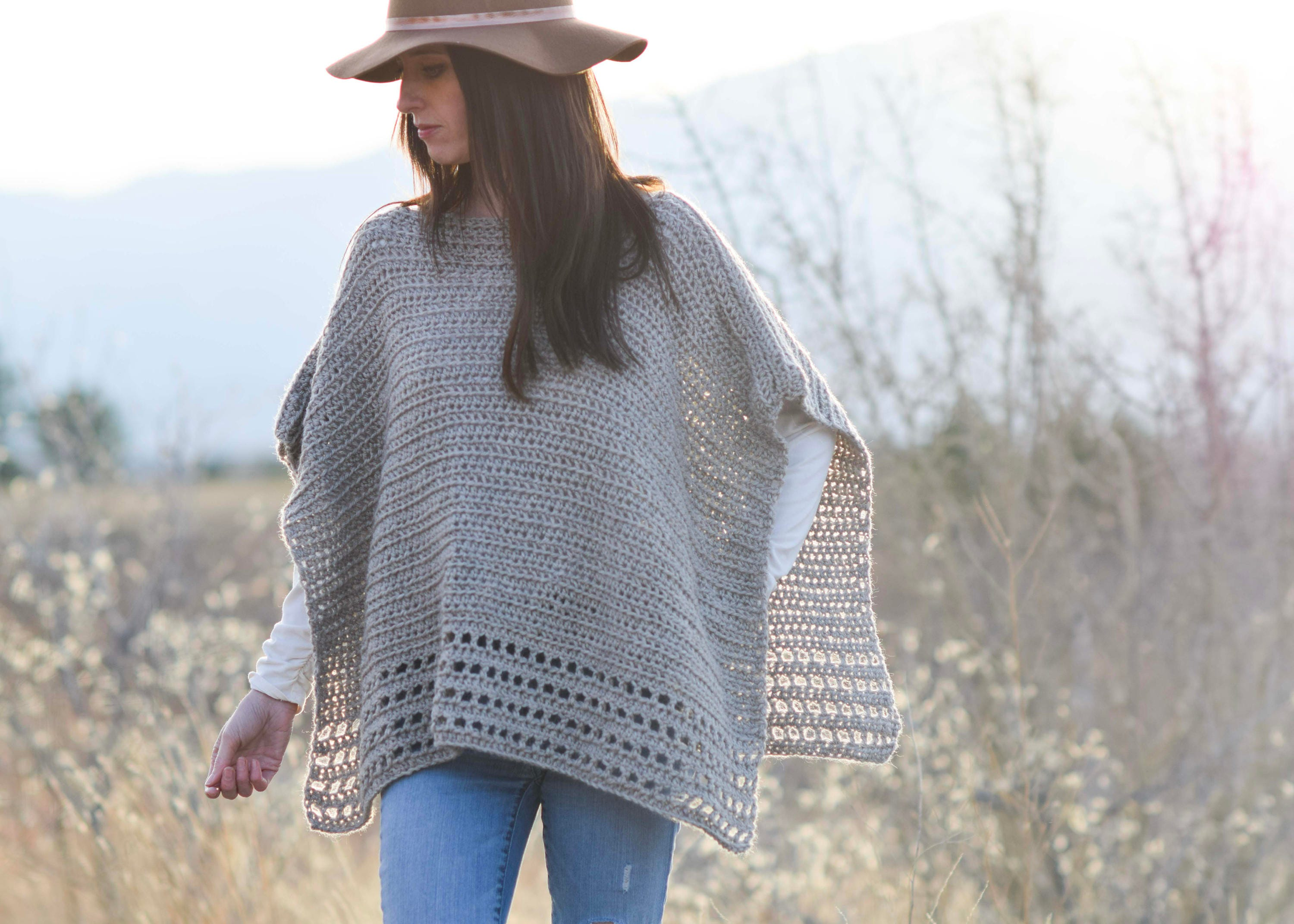 Alpaca Easy Crocheted Poncho Pattern Taupe Poncho Pattern Etsy