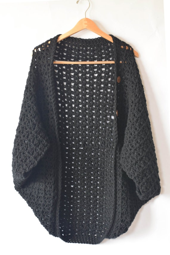 Crocheted Cacoon Pattern Womens Crochet Poncho Black Etsy