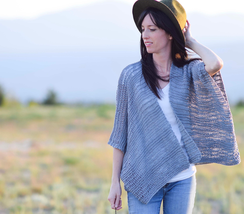 Kimono Knitting Pattern Easy Knit Cardigan Pattern Summer Etsy