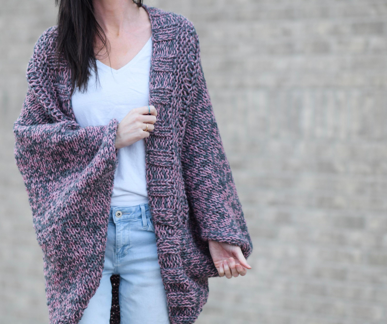 Easy Cardigan Knitting Pattern, Beginner Knit Sweater Pattern, Easy ...