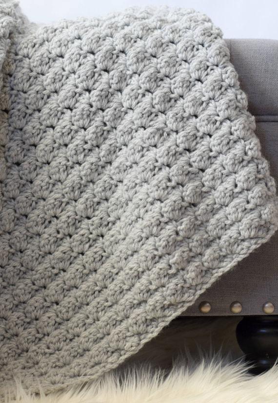 Simple Crocheted Blanket Pattern Easy Crocheted Blanket Grey Etsy