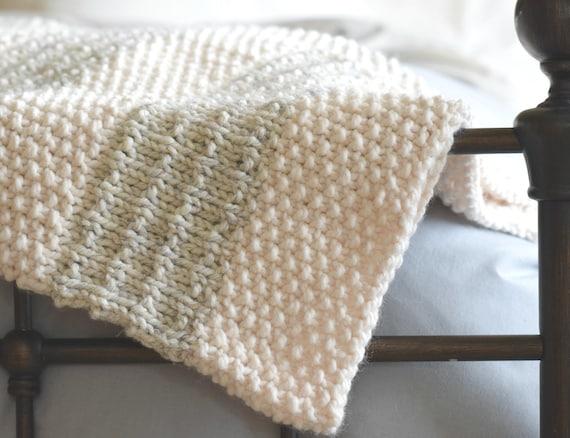 Easy Knit Blanket Pattern Knit Throw Pattern Easy Heirloom Etsy