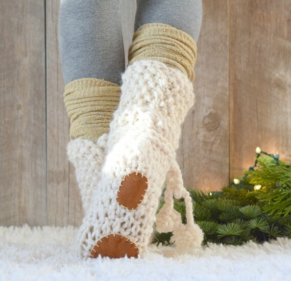 Mountain Chalet Knit Slipper Boots Pattern Slipper Knitting Etsy
