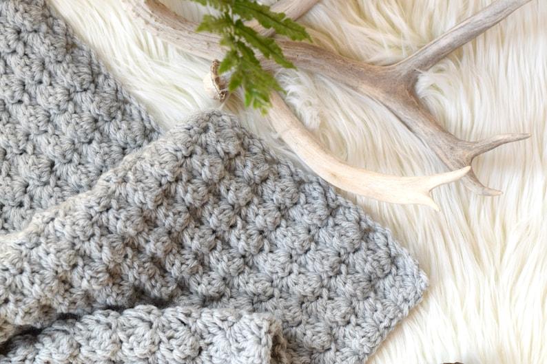 Simple Crocheted Blanket Pattern Easy Crocheted Blanket Grey image 0