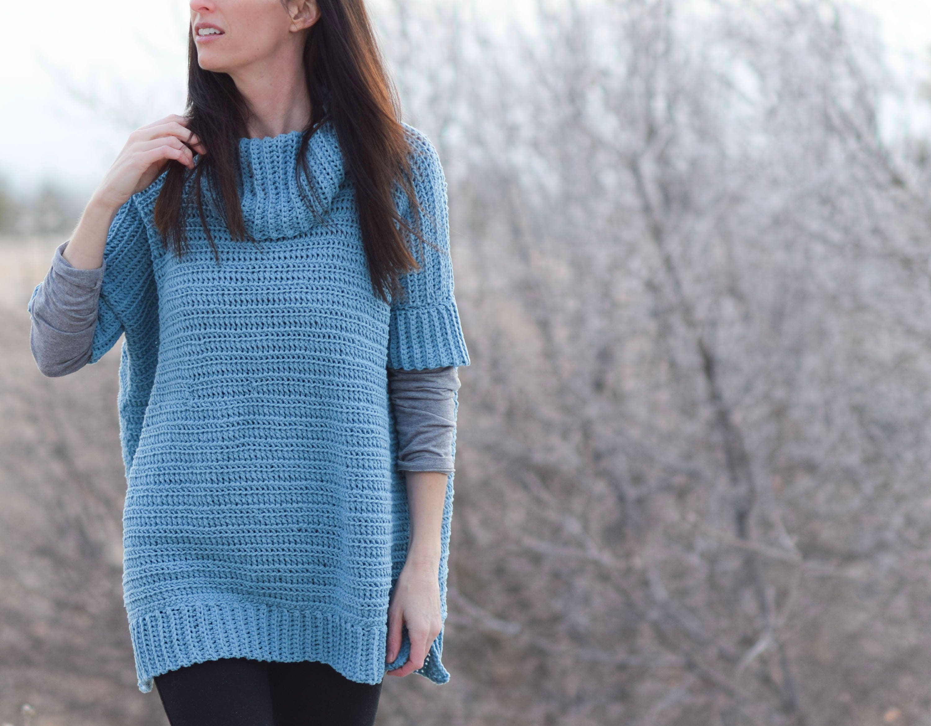 Easy Lounge Around Crochet Pullover Pattern Crocheted Poncho Etsy
