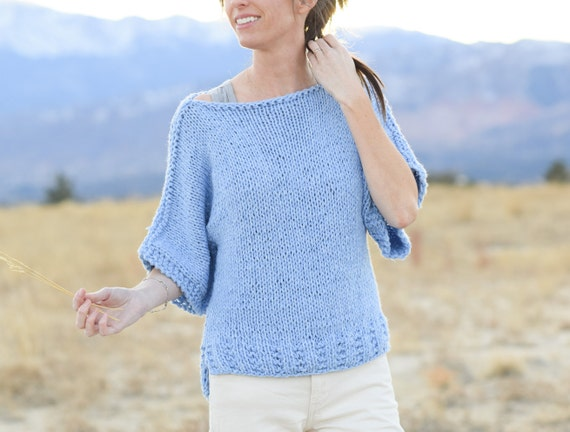 Beginner Knit Sweater Pattern Easy Short Sleeved Sweater Etsy