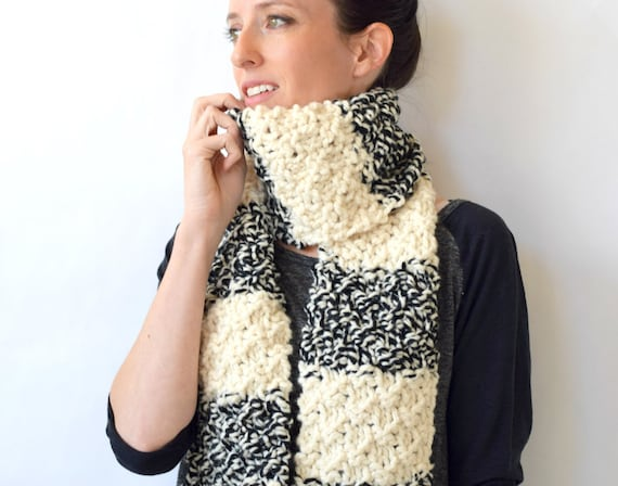Easy Knit Scarf Pattern Black And White Knit Scarf Pattern Etsy