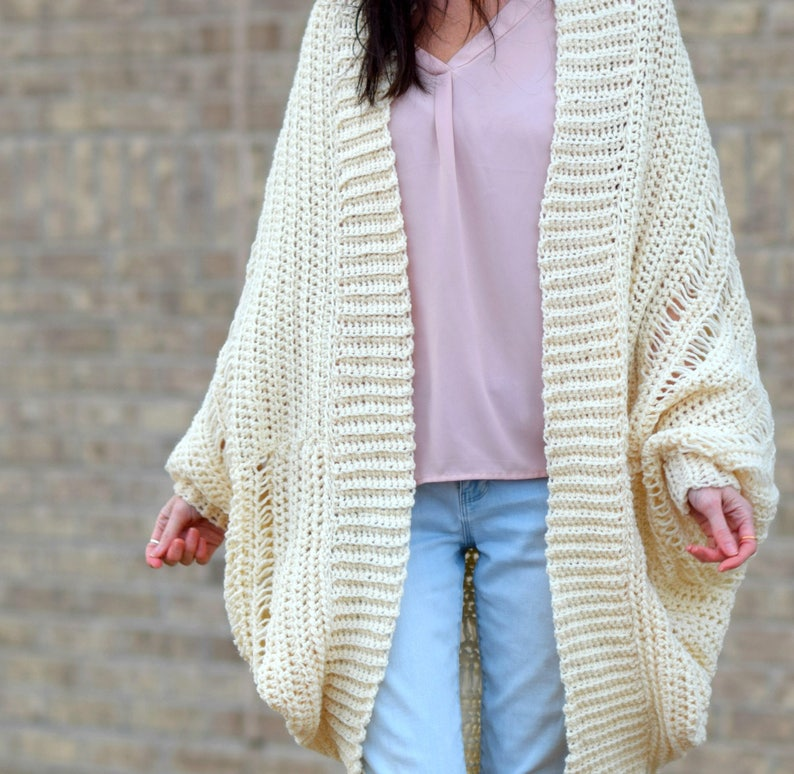 Easy Crocheted Cardigan Pattern Beginner Crochet Shrug Etsy