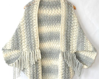 Easy Crocheted Sweater Cacoon Pattern, Crocheted Shrug Pattern, Light Frost Sweater Pattern, Blanket Sweater Crochet Pattern, Grey Crochet