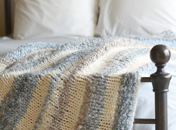 Quick Knit Throw Blanket Pattern Easy Knit Throw Blanket Etsy