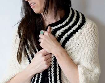 Easy Sweater Pattern, Beginner Knit Shrug Pattern, Black & White Knitting Pattern, Simple Knit Cardigan, Blanket Sweater Pattern