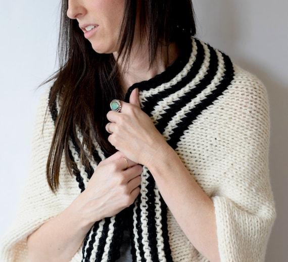 Easy Sweater Pattern Beginner Knit Shrug Pattern Black Etsy