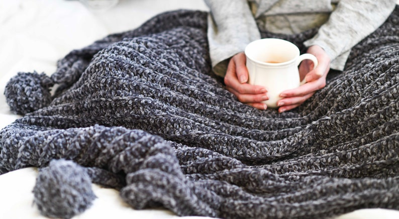 Knit Look Crocheted Throw Blanket Pattern Velvet Crochet Etsy