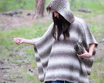 Crochet Pattern, Crocheted Poncho Pattern, Easy Crochet Poncho, Hoodie Crochet Pattern, Poncho with Hood, Beginner Crochet, Fall, Winter
