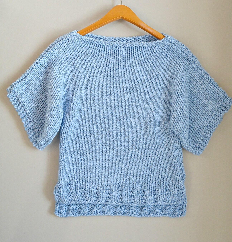 Beginner Knit Sweater Pattern, Easy Short Sleeved Sweater Pattern ...