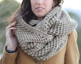 Big Knit Scarf, Knit Infinity Scarf Pattern, Bulky Knitting Pattern, Easy Knit Scarf Pattern, Giant Knit Scarf Pattern, Traveler Infinicowl