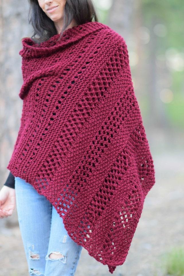 Merlot Wrap Knitting Pattern Knit Shawl Pattern Blanket Etsy