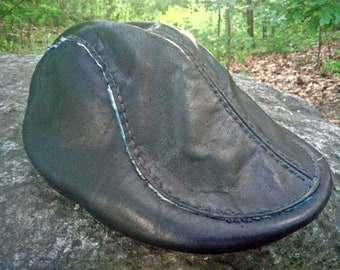 100% leather classic driver hat size x-small blue soft South Western Native American theme liner
