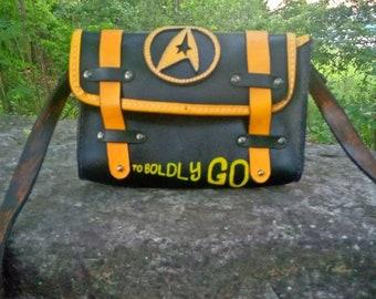 Handmade 100% vegetable tan leather Star Trek messenger satchel bag