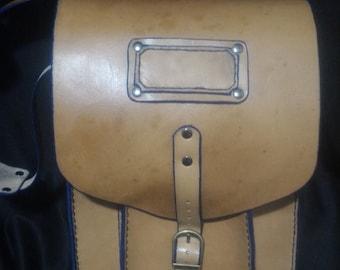 100% vegetable tan leather shoulder crossbody messenger bag