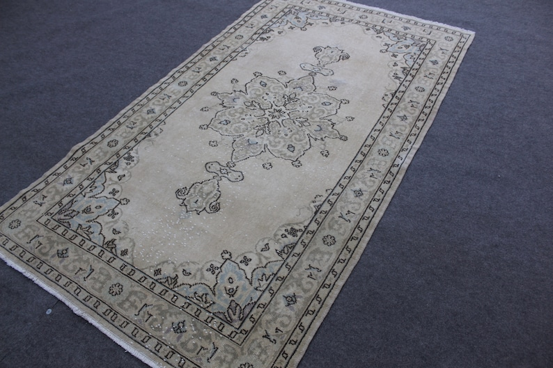 fast and free shipping Size 3/'/'11X6/'/'10 feet no1259 greeen and beige color v\u0131ntage turkish oushak rug