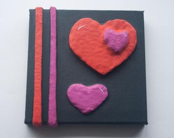 Love Hearts & Stripes Painting