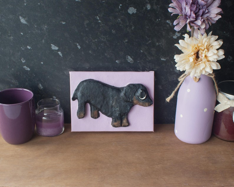 Sauage Dog Painting. Dachshund Original 3D Acrylic Painting By image 0