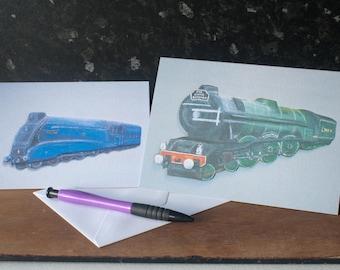 Father's Day Train Card Bundle. Flying Scotsman and Mallard Train Card Bundle.