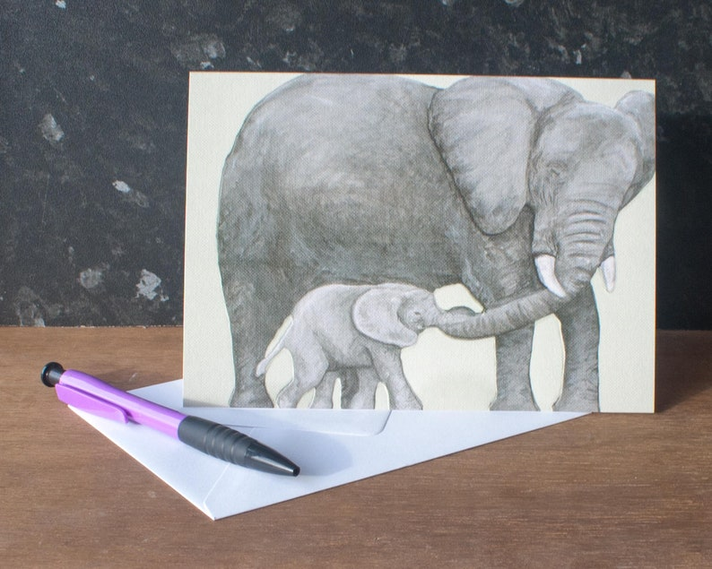 Mother's Day Card Mummy and Baby African Elephants Card