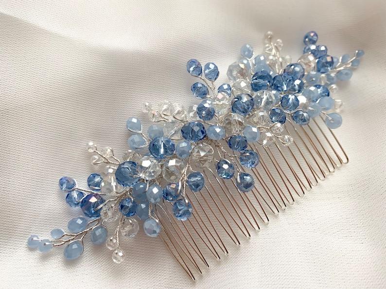hair accessory wedding hair piece wedding hair comb blue hair comb Bridal headpiece Bridal hair comb