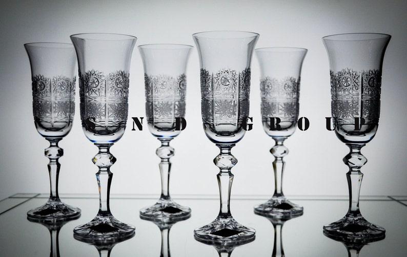 9a856738beef Bohemia Crystal Champagne Glasses 5oz. stem Flutes Set of 6   Etsy